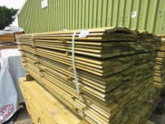 LARGE PACK OF TREATED SHIPLAP CLADDING TIMBER, 1.72M LENGTH X 10CM WIDTH APPROX.