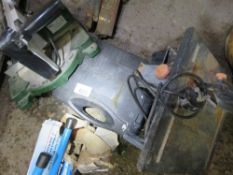 MITRE SAW, TILE SAW AND A BATTERY DRILL.