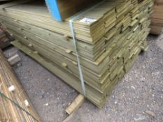 LARGE PACK OF TREATED HIT AND MISS FENCE CLADDING TIMBER BOARDS, 1.74 M LENGTH X 10CM WIDTH APPROX.