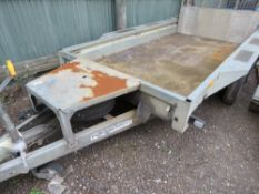 IFOR WILLIAMS GX105HD TWIN AXLED PLANT TRAILER, 10FT X 5FT. WITH SPARES WHEEL AND REAR RAMP. SN:SCKD
