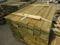 LARGE PACK OF FEATHER EDGE FENCE CLADDING TIMBER BOARDS, 1.5M LENGTH X 10CM WIDTH APPROX.