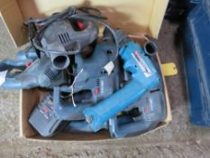 BOX OF ASSORTED POWER TOOLS. UNTESTED, CONDITION UNKNOWN.