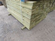 LARGE PACK OF PRESSURE TREATED FEATHER EDGE FENCING TIMBER. 1.74M LENGTH X10CM WIDTH APPROX.