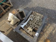 PALLET CONTAINING RAIN WATER HOPPERS, CAST BRACKETS AND SUNDRY ITEMS.