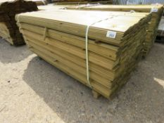 LARGE PACK OF HIT AND MISS FENCE CLADDING TIMBER BOARDS, 1.74M LENGTH X 10CM WIDTH APPROX.