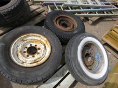3 X ASSORTED WHEELS AND TYRES.