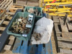 PALLET CONTAINING SCAFFOLD CLIPS, ADJUSTABLE FEET ETC. NO VAT ON HAMMER PRICE.