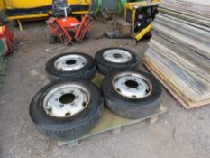 4 X 6 STUD WHEELS AND TYRES, 205/75R17.5 SIZE TYRES. NO VAT ON HAMMER PRICE.