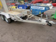 INDESPENSION 8FT X 4FT MINI EXCAVATOR TRAILER WITH DROP REAR RAMP. RING HITCH FITTED.