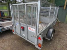 IFOR WILLIAMS GD84G SINGLE AXLE TRAILER WITH MESH EXTENSION SIDES PLUS FULL HEIGHT REAR RAMP. 8FT X