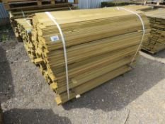 LARGE PACK OF HIT AND MISS FENCE CLADDING TIMBER BOARDS, 1.44M LENGTH X 9.5CM WIDTH APPROX.