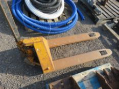 PALLET TRUCK. WHEN TESTED WAS SEEN TO LIFT AND LOWER. NO VAT ON HAMMER PRICE.