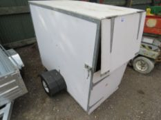SMALL SIZED BOX TRAILER, 76CM X 155CM APPROX. HIGH TOWING DRAWBAR FITTED. NO VAT ON HAMMER PRICE.