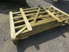 4 X WOODEN FIELD GATES: 2@2.1M, 1@1.8M, 1@1.05M APPROX.