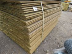 LARGE PACK OF PRESSURE TREATED SHIPLAP FENCING TIMBER. 1.54M LENGTH X 9.5CM WIDTH APPROX.