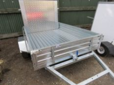 GALVANISED TITING BED / TIPPING TRAILER WITH RAMP, LITTLE USED. BALL HITCH COUPLING. 7FT X 5FT APPRO
