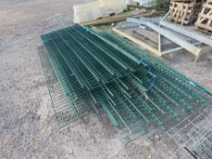 LARGE QUANTITY OF METAL MESH FENCING SECTIONS. MAJORITY OF THE GREEN ONES ARE HIGH SECURITY TYPE.