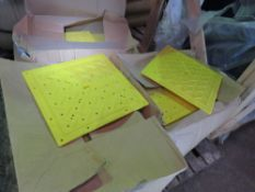 3 X BOXES OF 300MM X 300MM PLASTIC FLOOR HOLE COVERS, APPROX 40NO IN EACH BOX.
