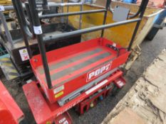 POPUP 6 PRO BATTERY POWERED SCISSOR LIFT UNIT. UNTESTED, CONDITION UNKNOWN.
