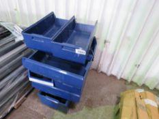9 X BLUE PLASTIC PARTS BINS / TRAYS. NO VAT ON HAMMER PRICE.