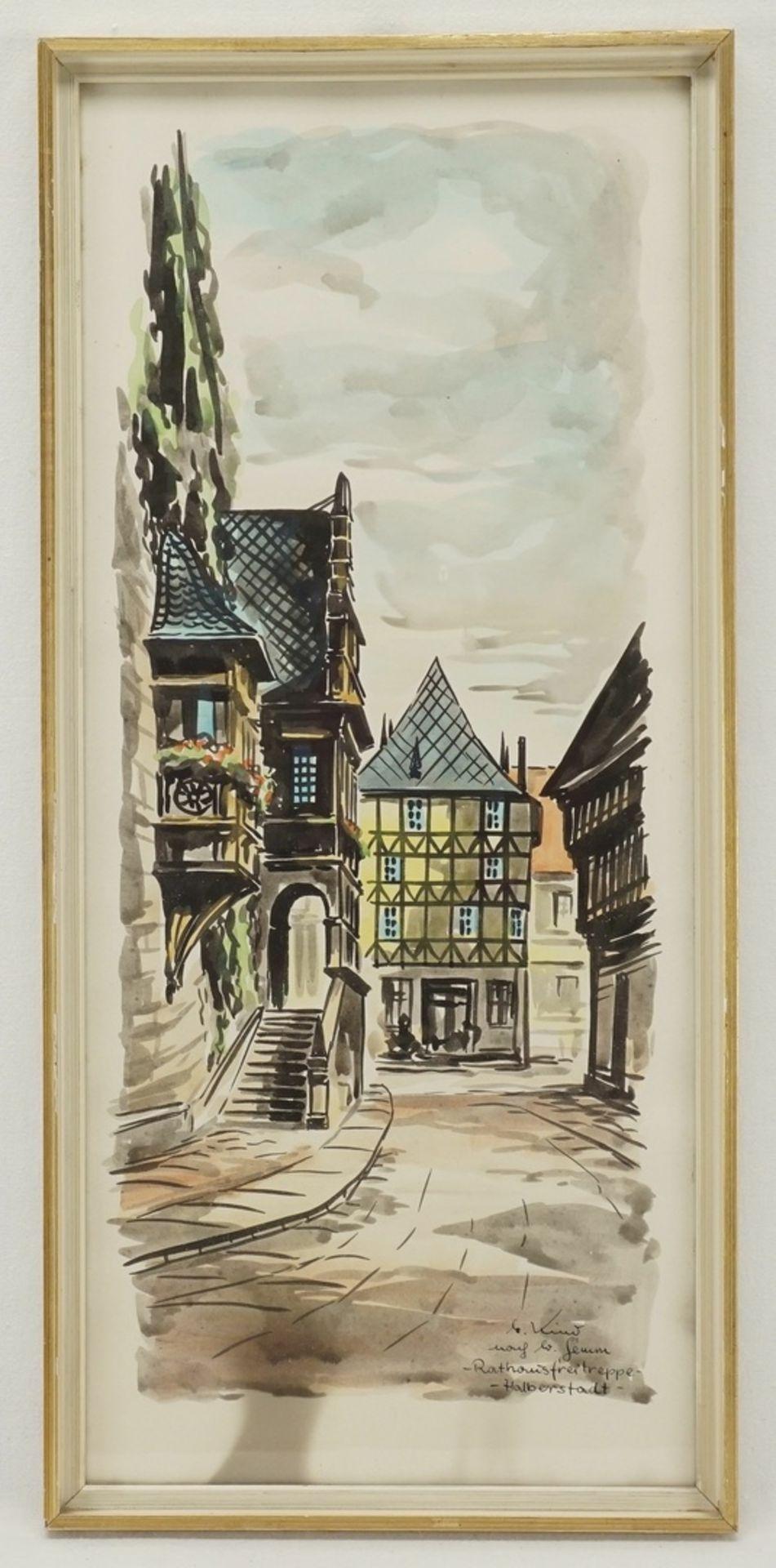 """M. oder G. Kind, """"Rathausfreitreppe - Halberstadt"""" (nach W. Gemm) - Bild 2 aus 4"""