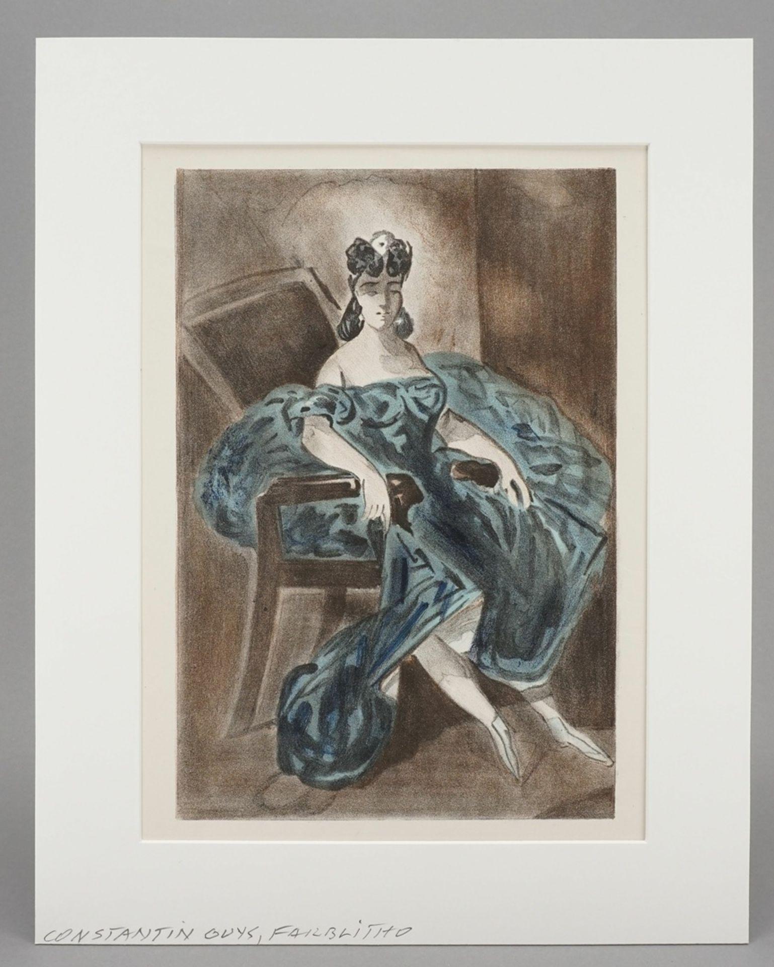 Constantin Guys, Sitzende Dame in türkisblauem Kleid - Bild 2 aus 4