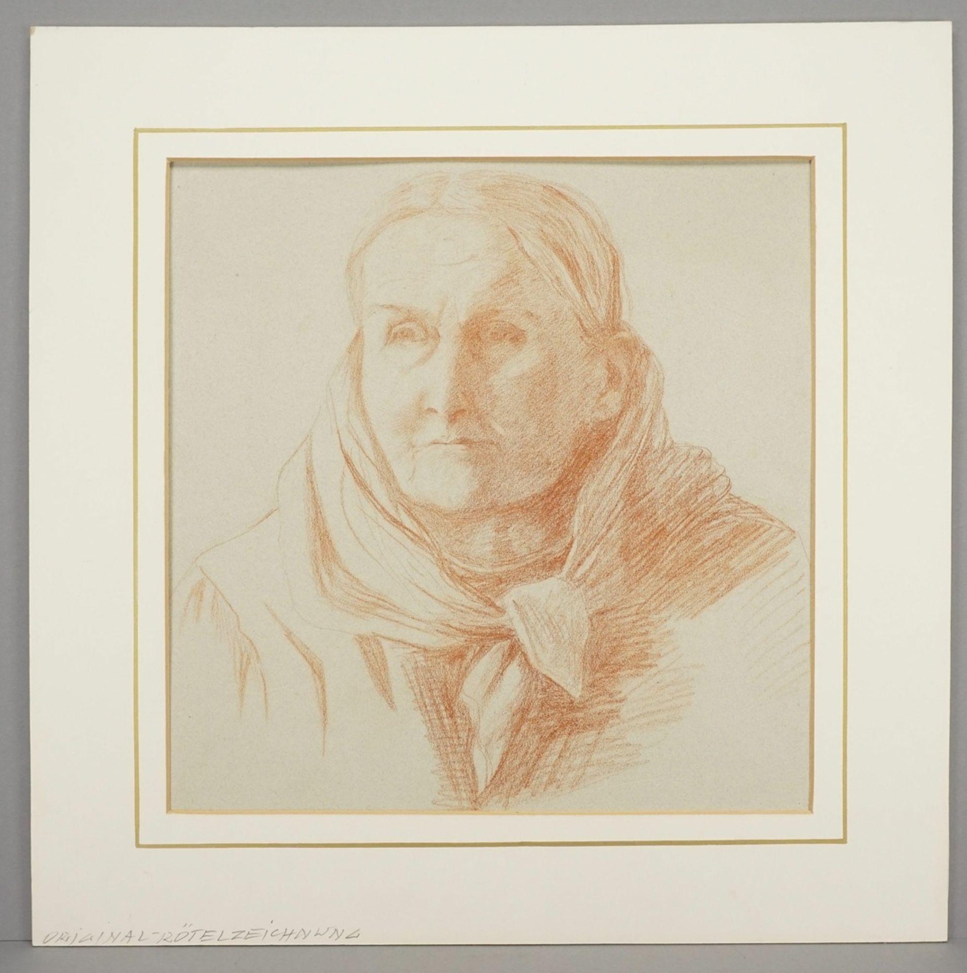 """Unbekannter Genremaler, """"Portrait einer älteren Dame mit Schaltuch"""" - Bild 2 aus 3"""