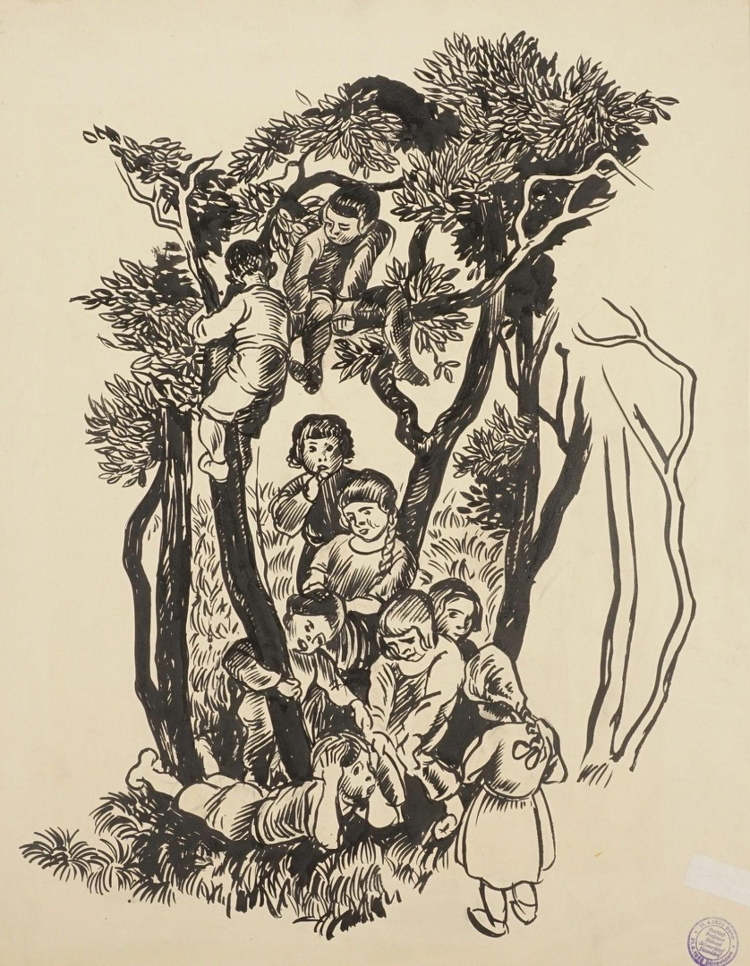 Richard Schwarzkopf, Heitere Kindergruppe zwischen Bäumen