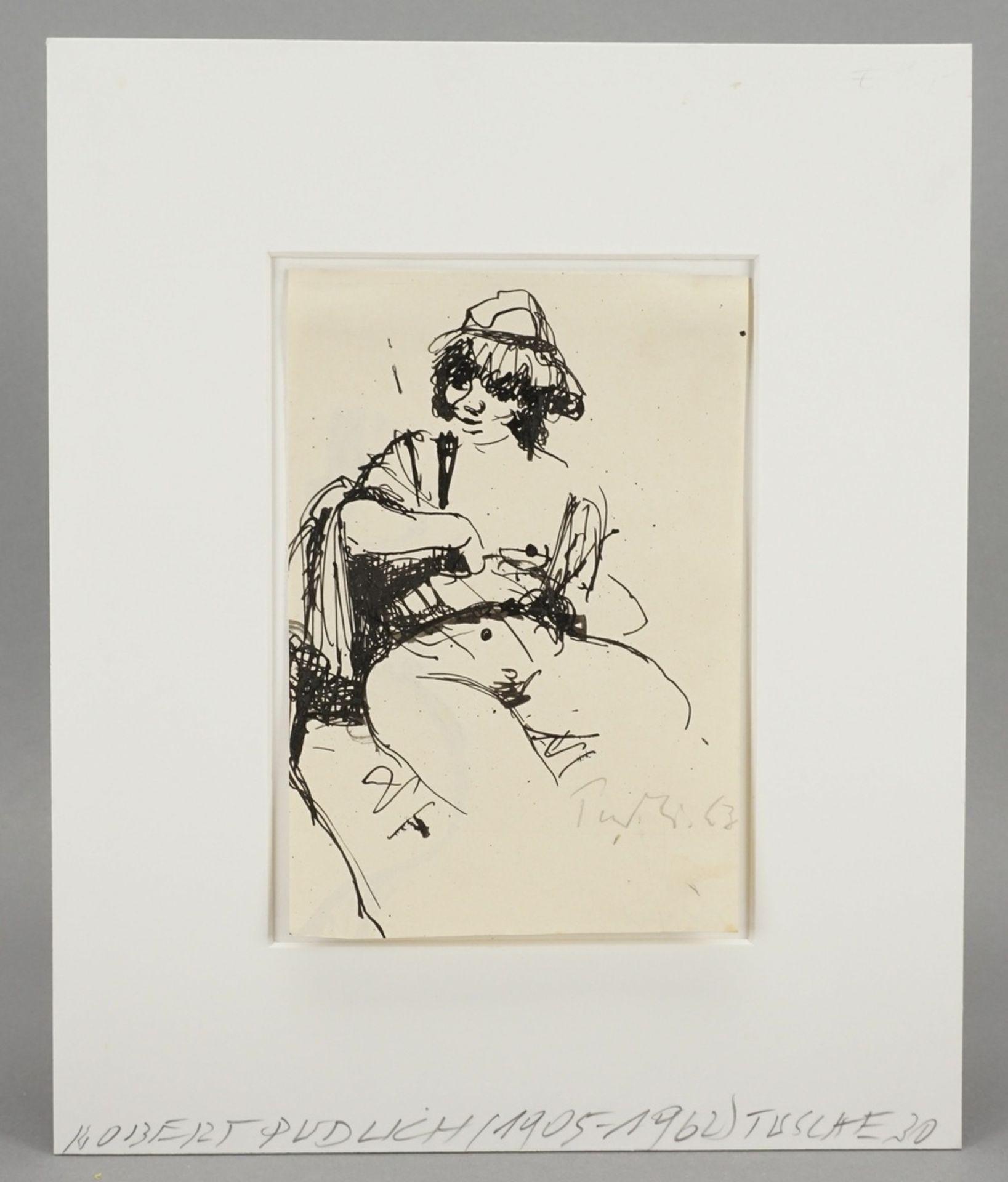 Robert Pudlich, Sitzender weiblicher Akt mit Hut - Bild 2 aus 4
