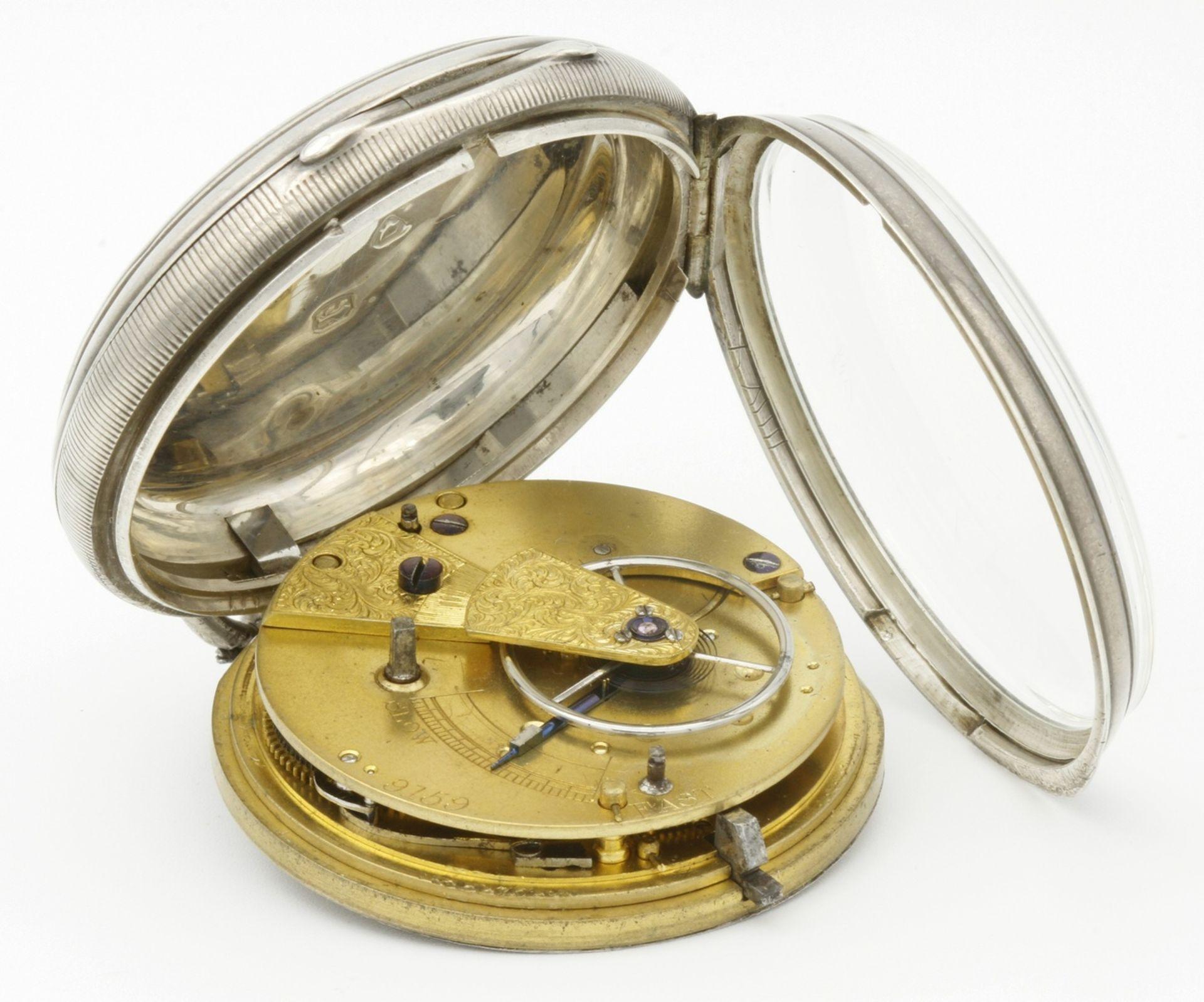 Aufwendig verzierte englische Silbertaschenuhr, um 1870 - Bild 6 aus 7