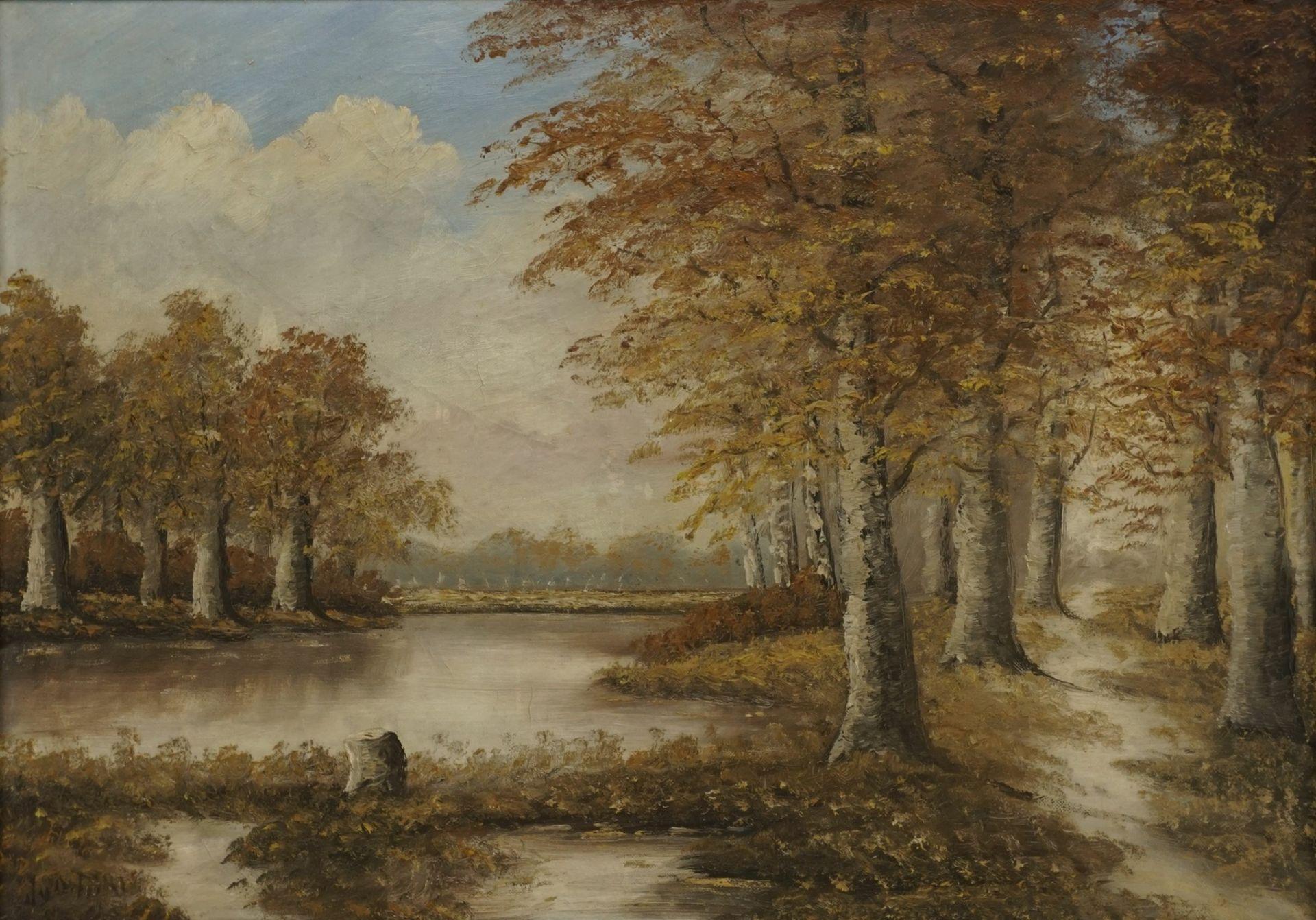 Unbekannter Künstler, Herbstliche Flusslandschaft
