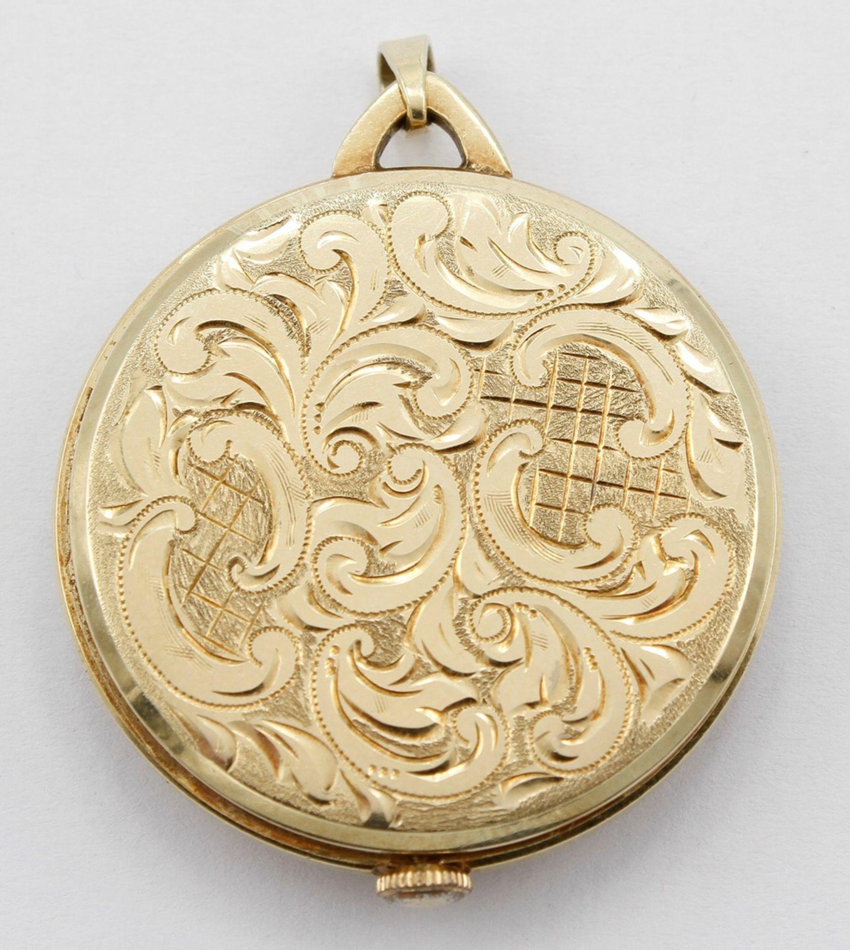 Kleine goldene Anhängeruhr / Damentaschenuhr, 2. Hälfte 20. Jh. - Bild 3 aus 5