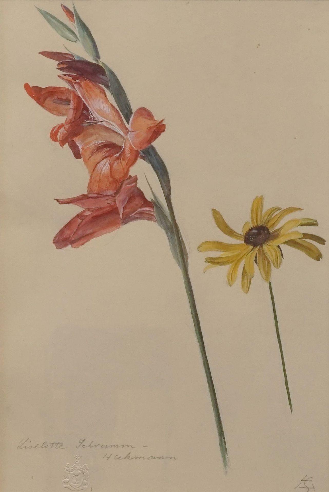 """Liselotte Schramm Heckmann, """"Gladiole und Sonnenhut"""""""