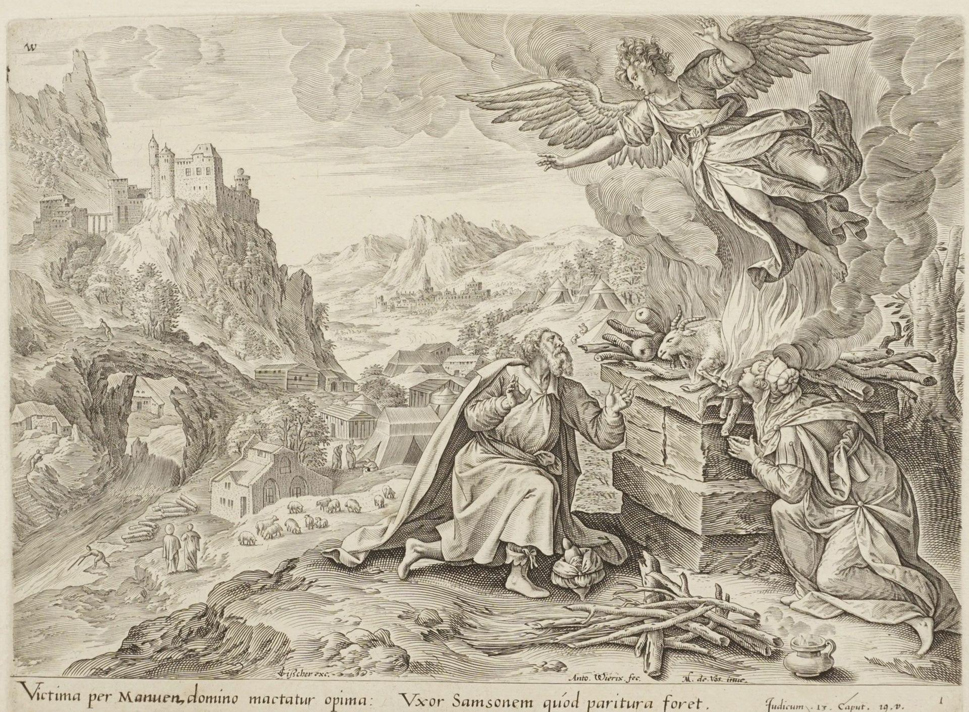 """Anton III Wierix, """"Victima per Manuen, domino mactatur opima..."""" (Der Engel entfernt sich von ..."""