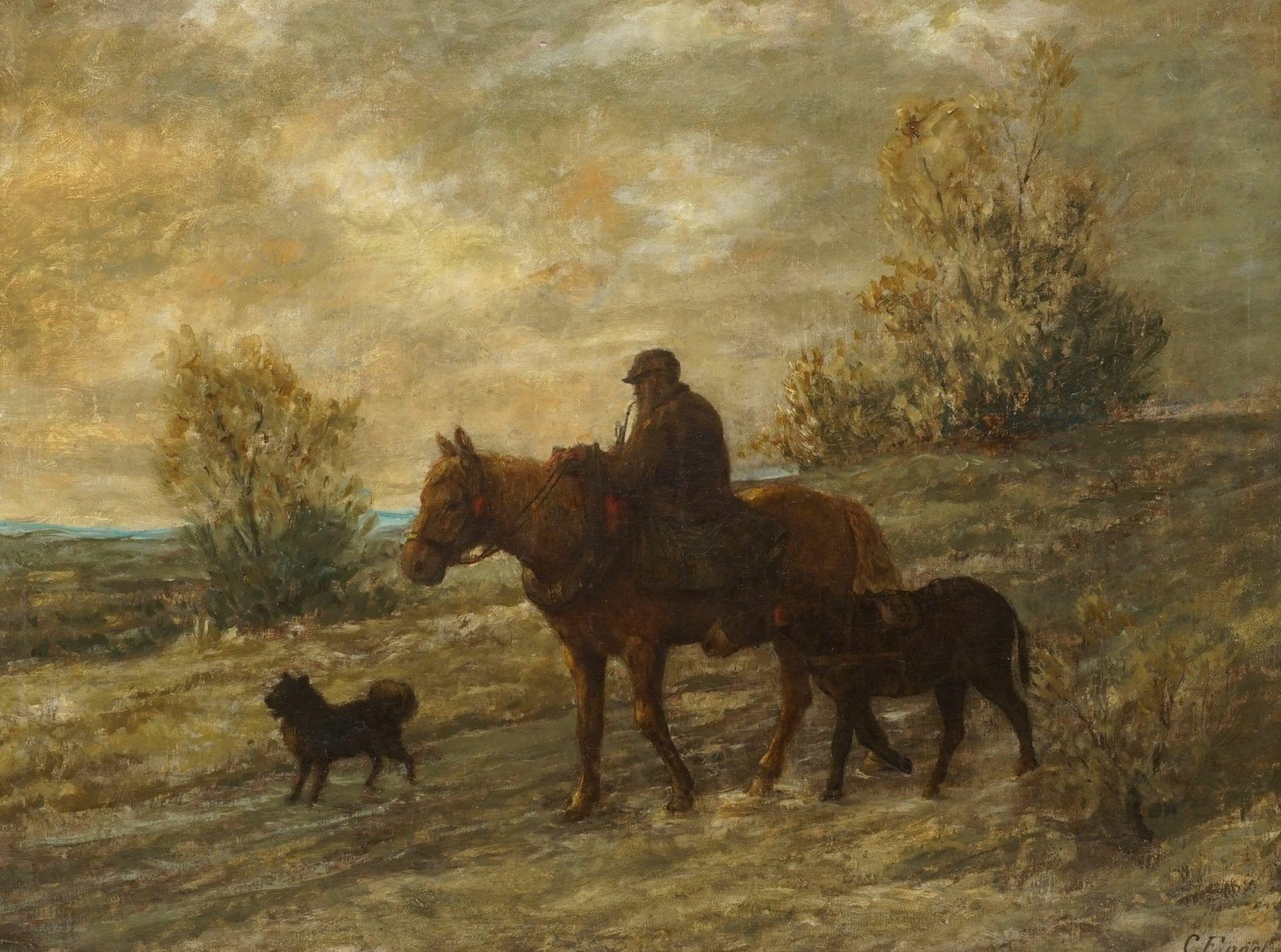 """C. Engel, """"Abendliche Heimkehr mit Esel und Spitz"""""""