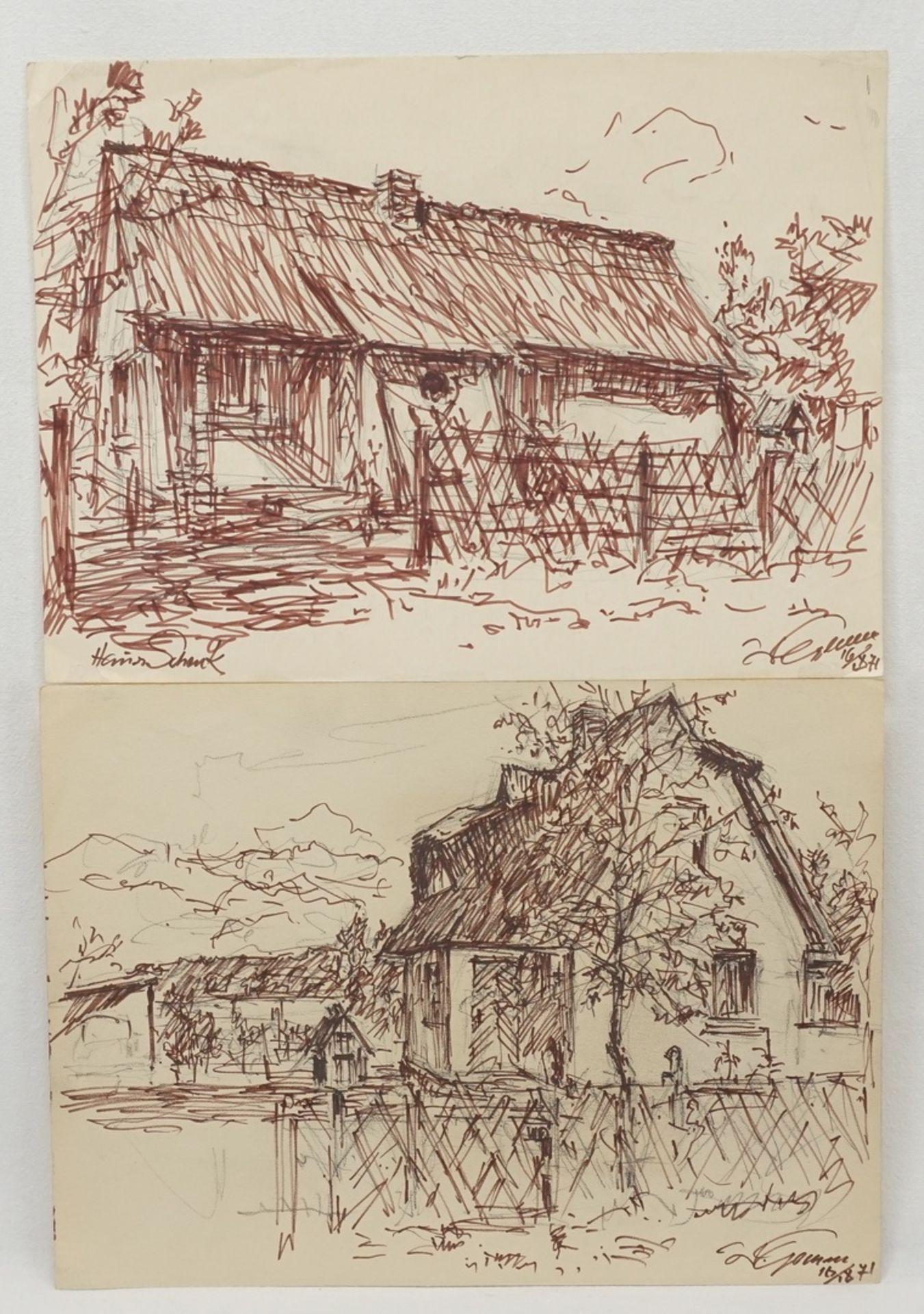 Walter Gemm, zwei Ortsbilder Dierhagen