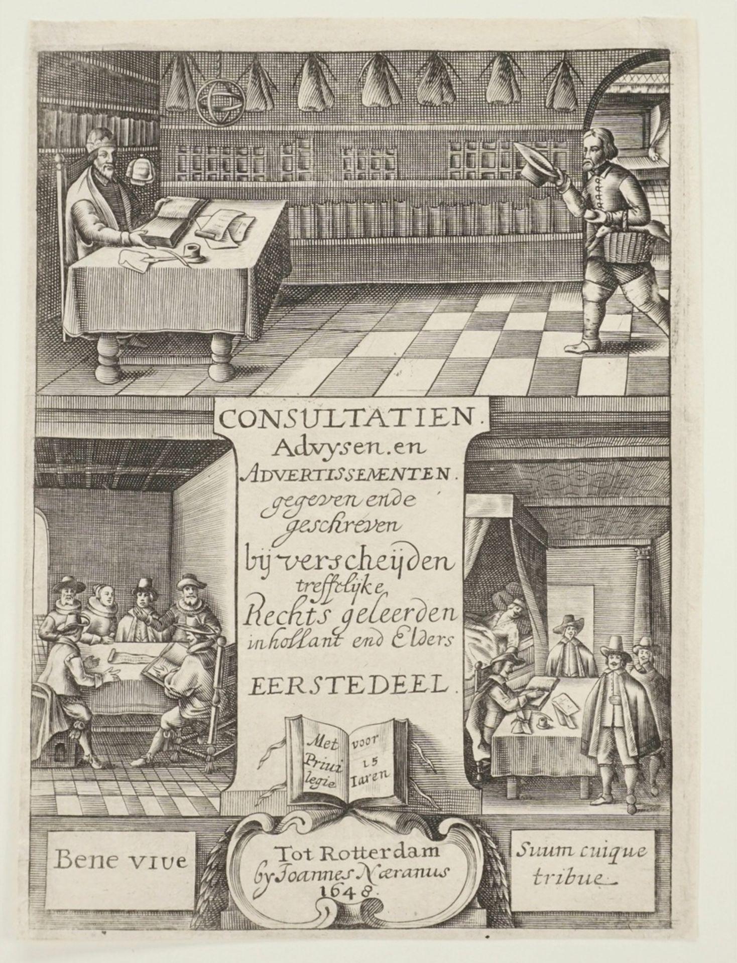 """Titelkupfer zu """"Consultatien Advysen. en Advertissementen [...]"""" - Bild 3 aus 3"""