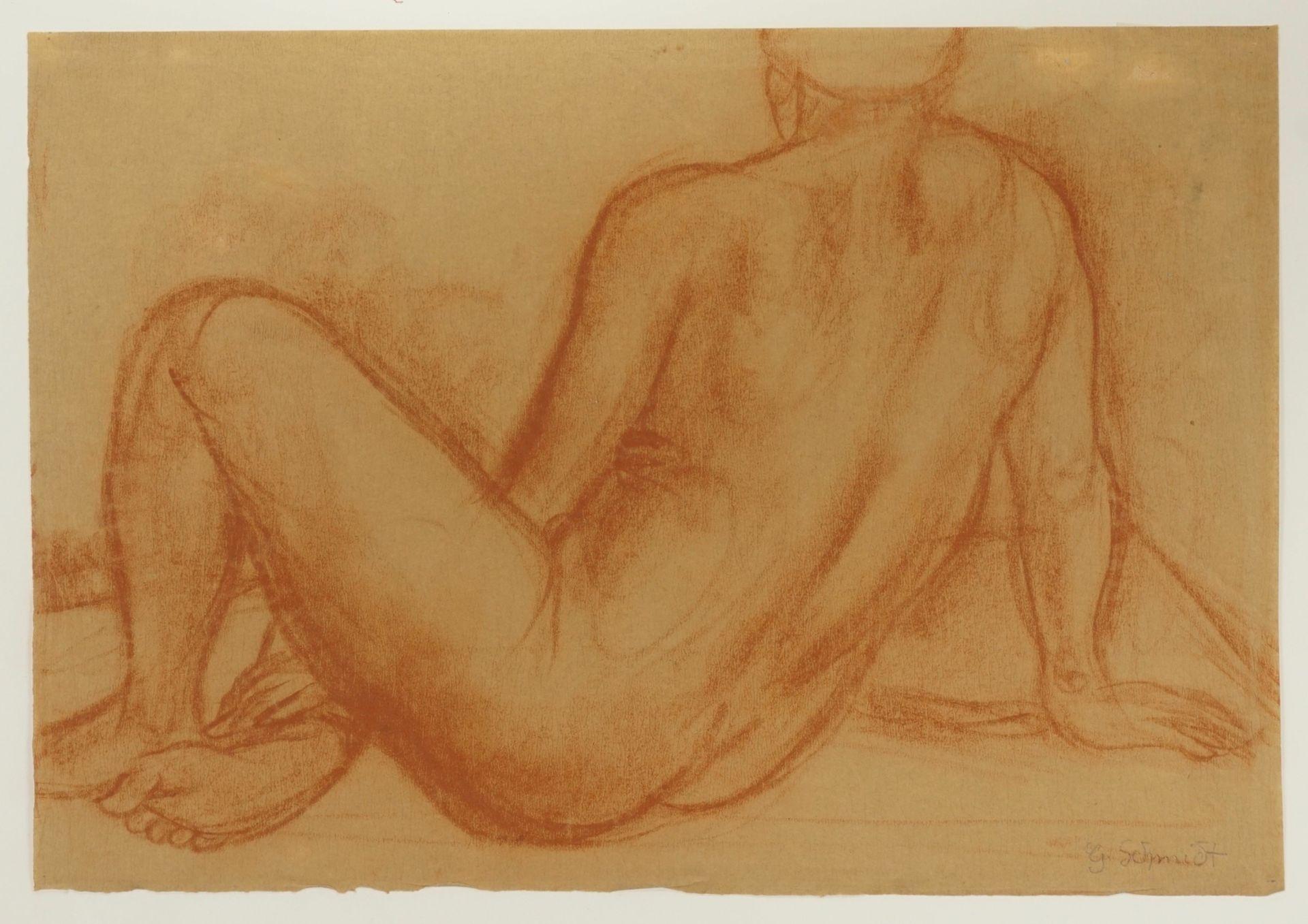 Gustav Schmidt, Sitzender Rückenakt, seitlich gelehnt - Bild 3 aus 4