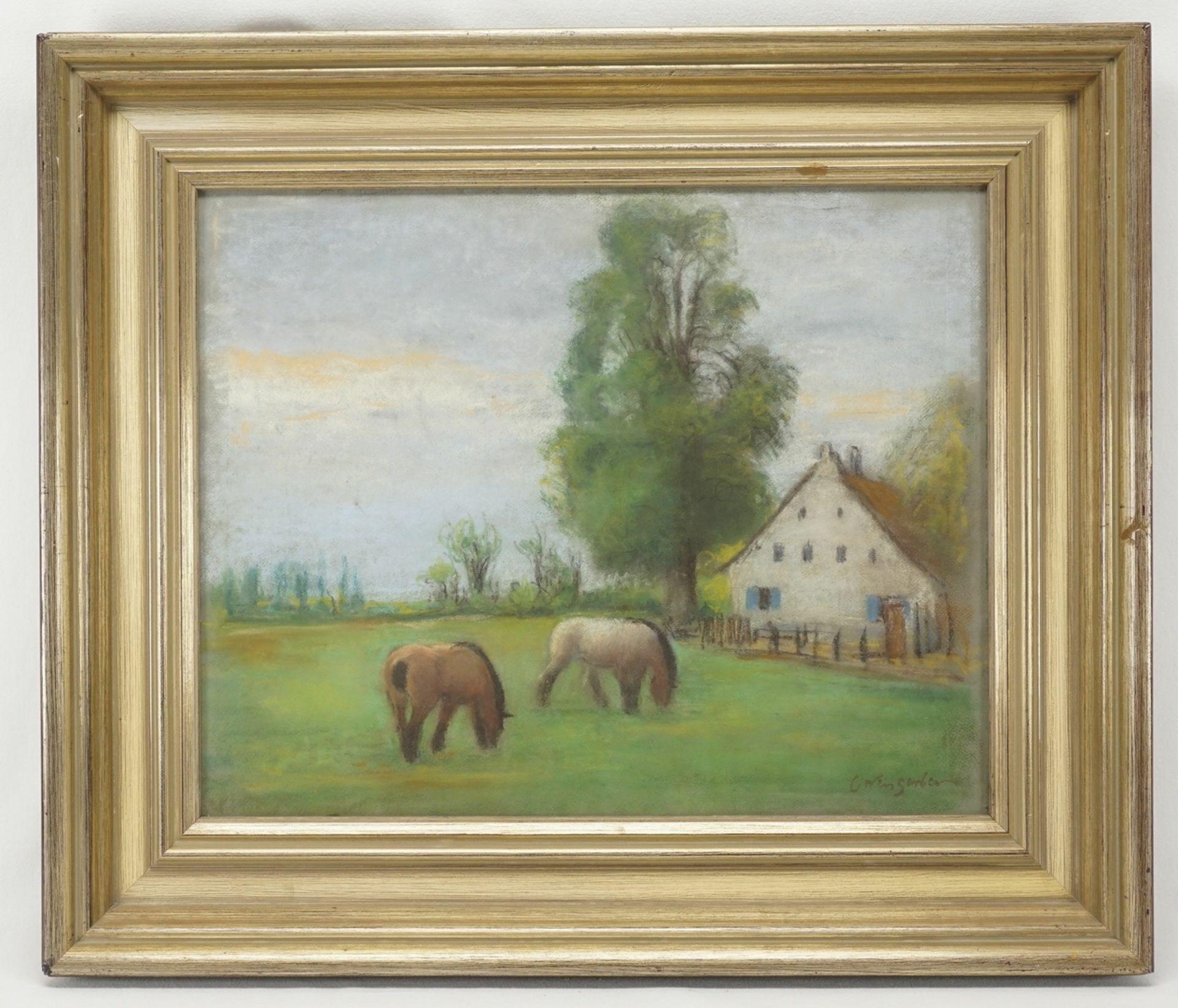 """Carl Weisgerber, """"Gutshof mit grasenden Fjordpferden"""" - Bild 2 aus 4"""