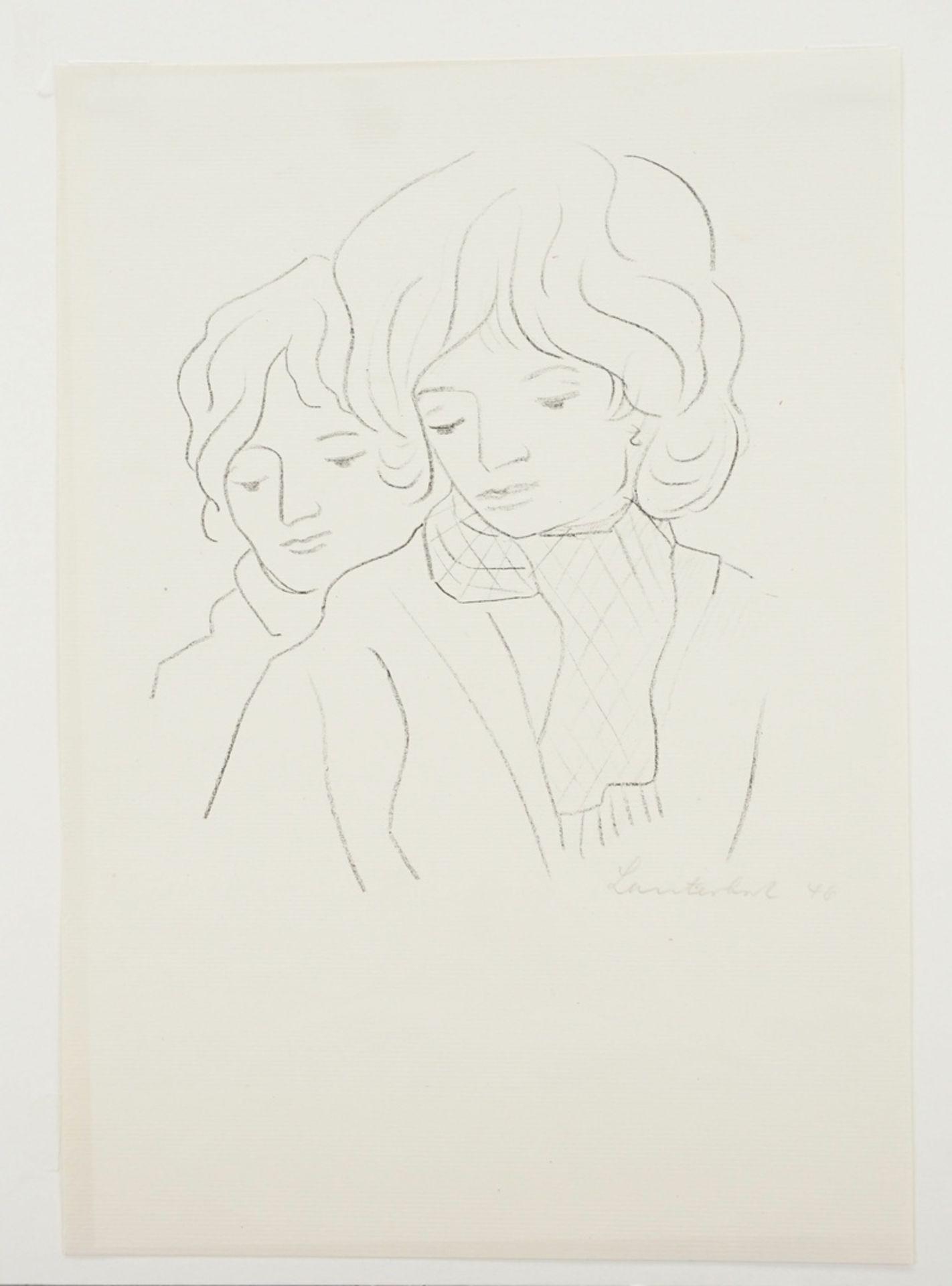Carl Lauterbach, Zwei Frauenköpfe - Bild 3 aus 4