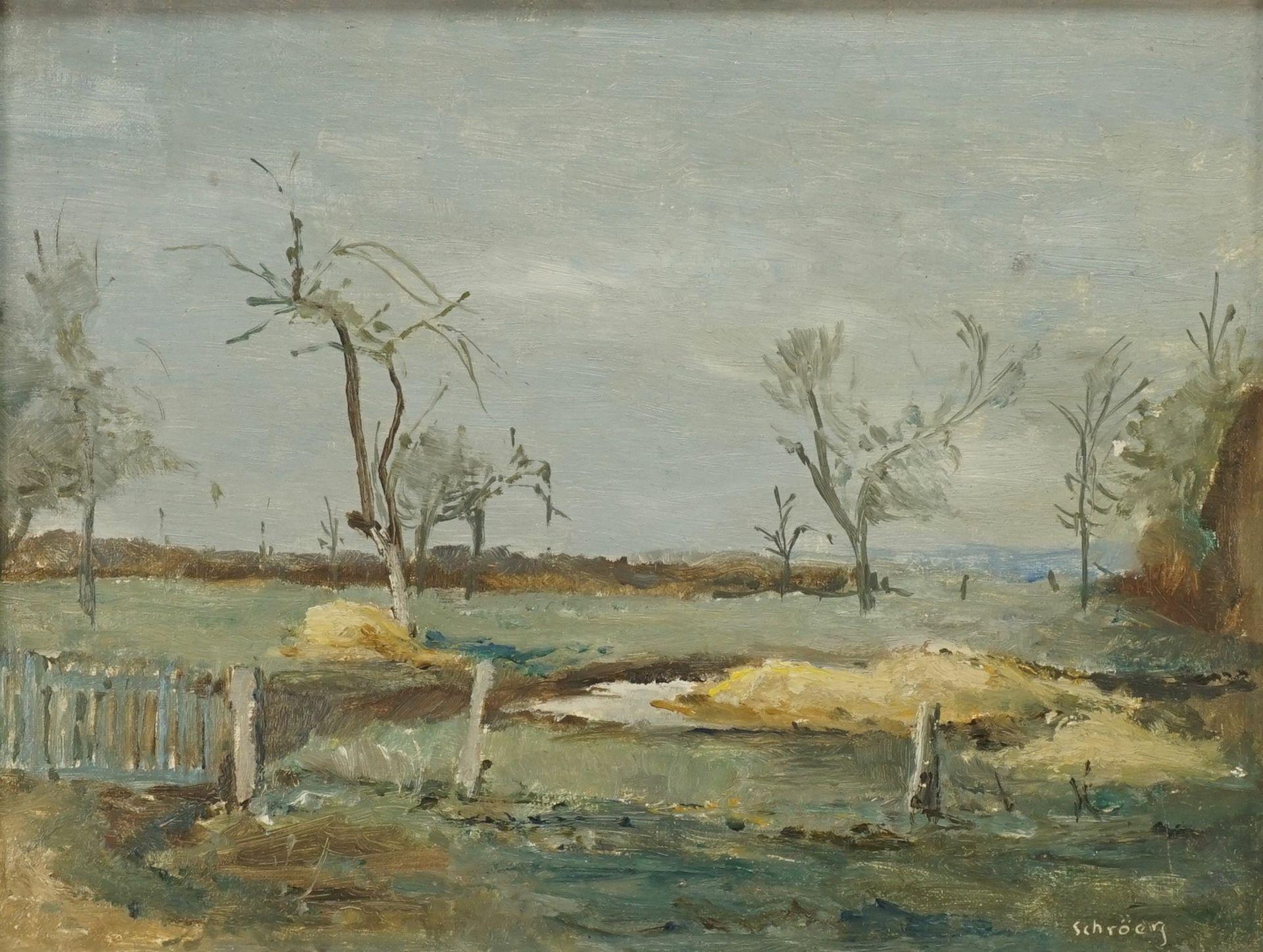 """Hans Schröers, """"Kleine Landschaft mit Zaun"""""""