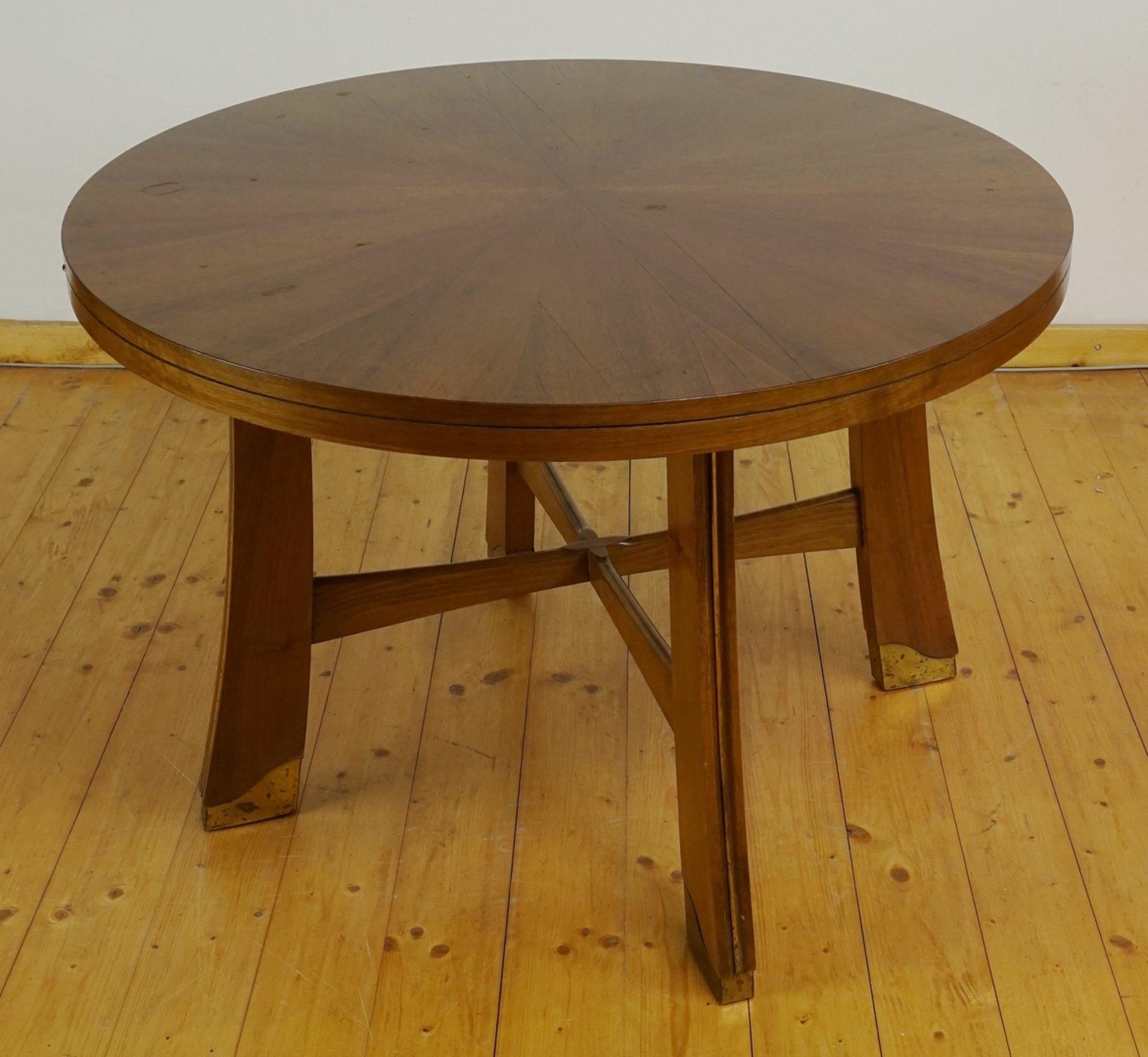 Runder Jugendstil Tisch, Nussbaum furniert