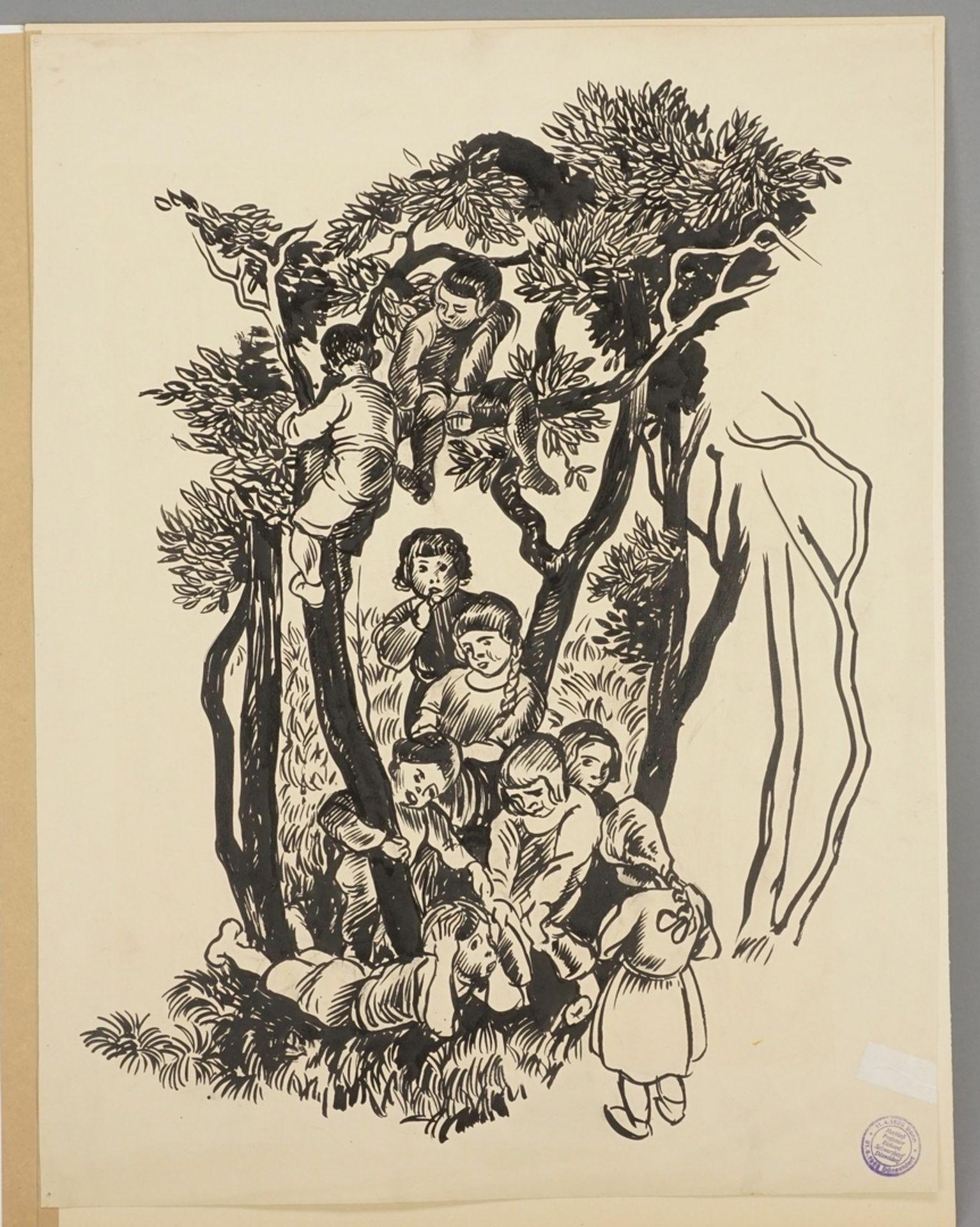 Richard Schwarzkopf, Heitere Kindergruppe zwischen Bäumen - Bild 3 aus 5