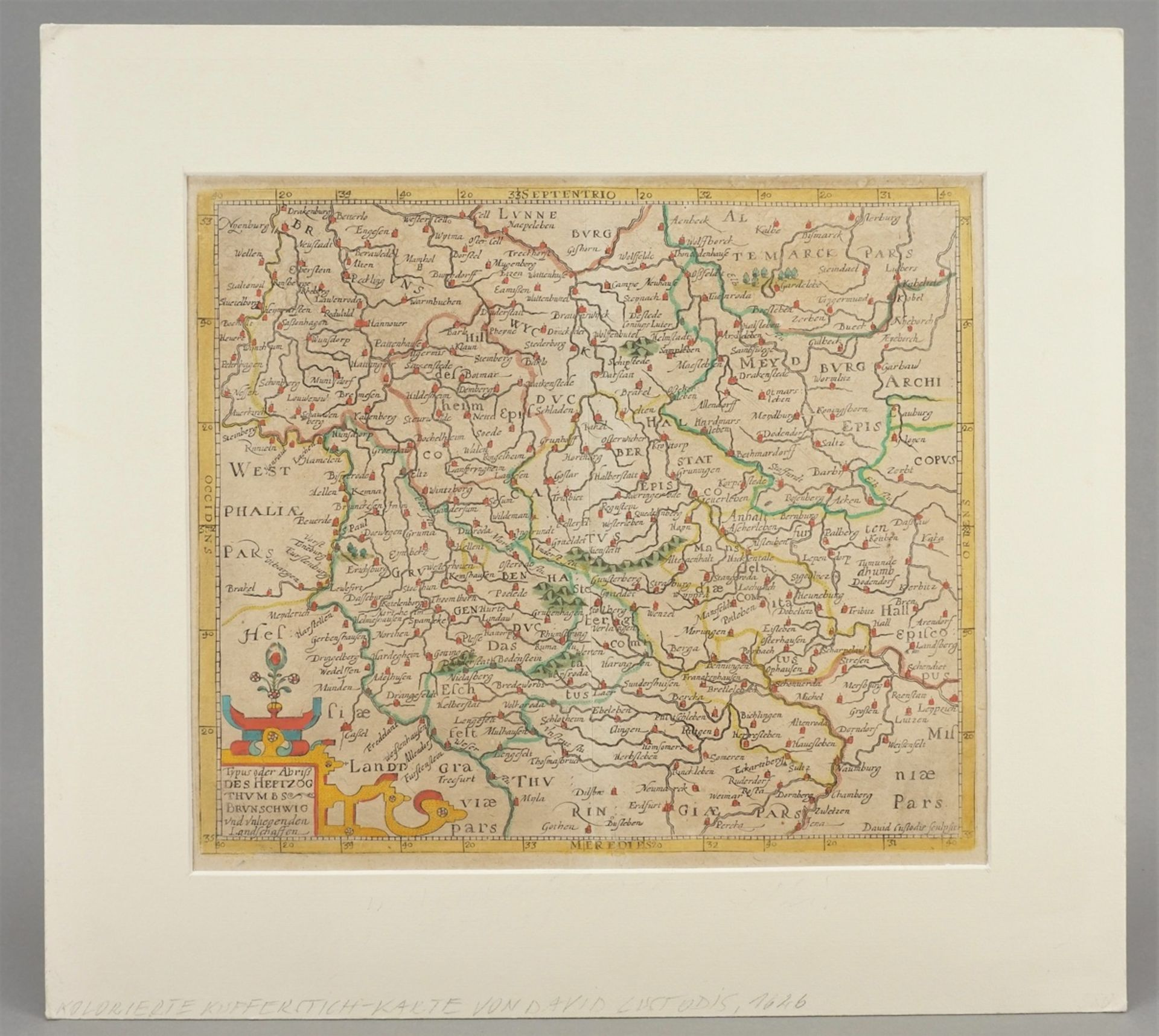 David Custos (Custodis), Landkarte des Herzogtums Braunschweig und umliegender Landschaften - Bild 2 aus 3