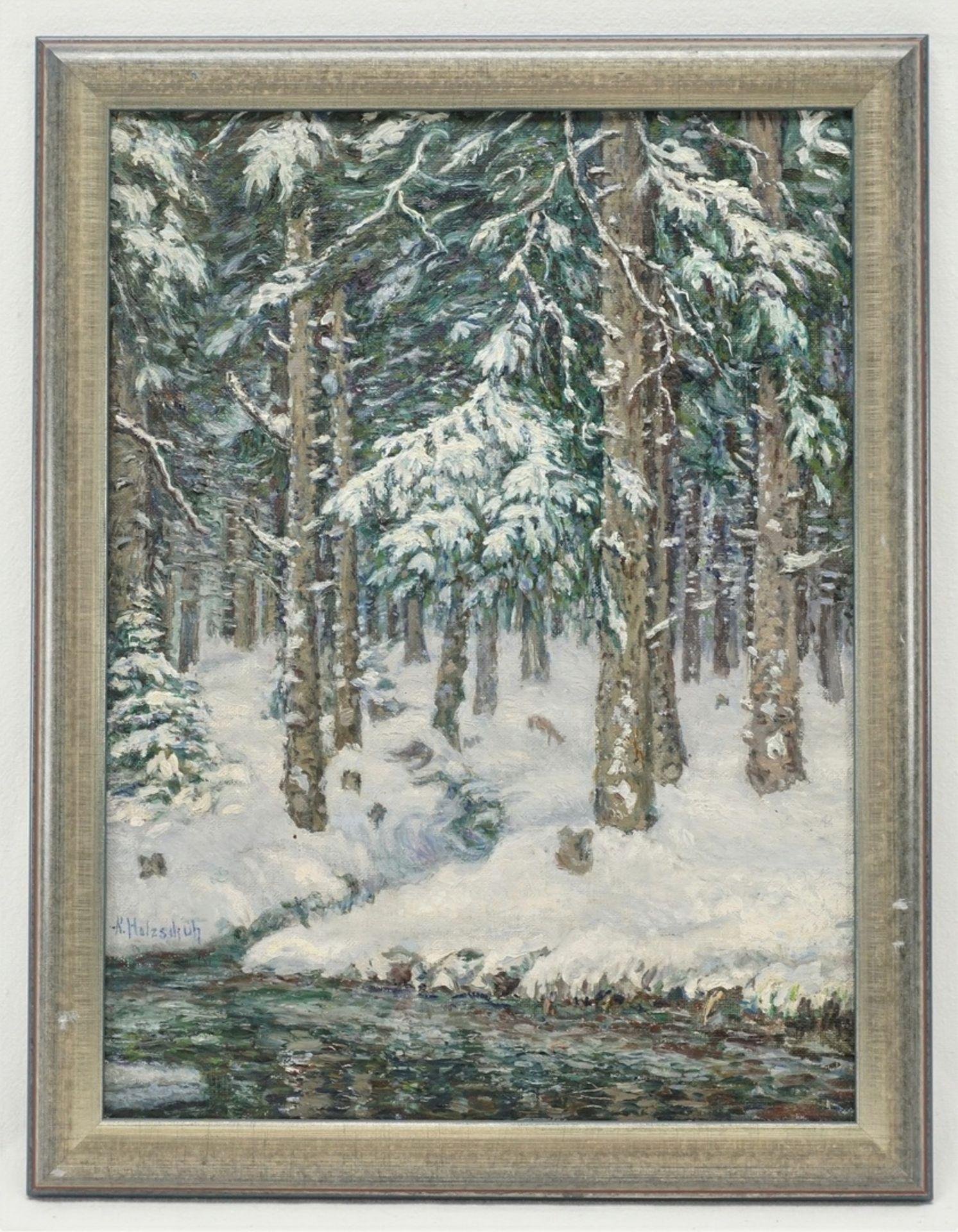 """Rudolf Holzschuh, """"Harz. Festenburg"""" (Winterwald) - Bild 2 aus 4"""