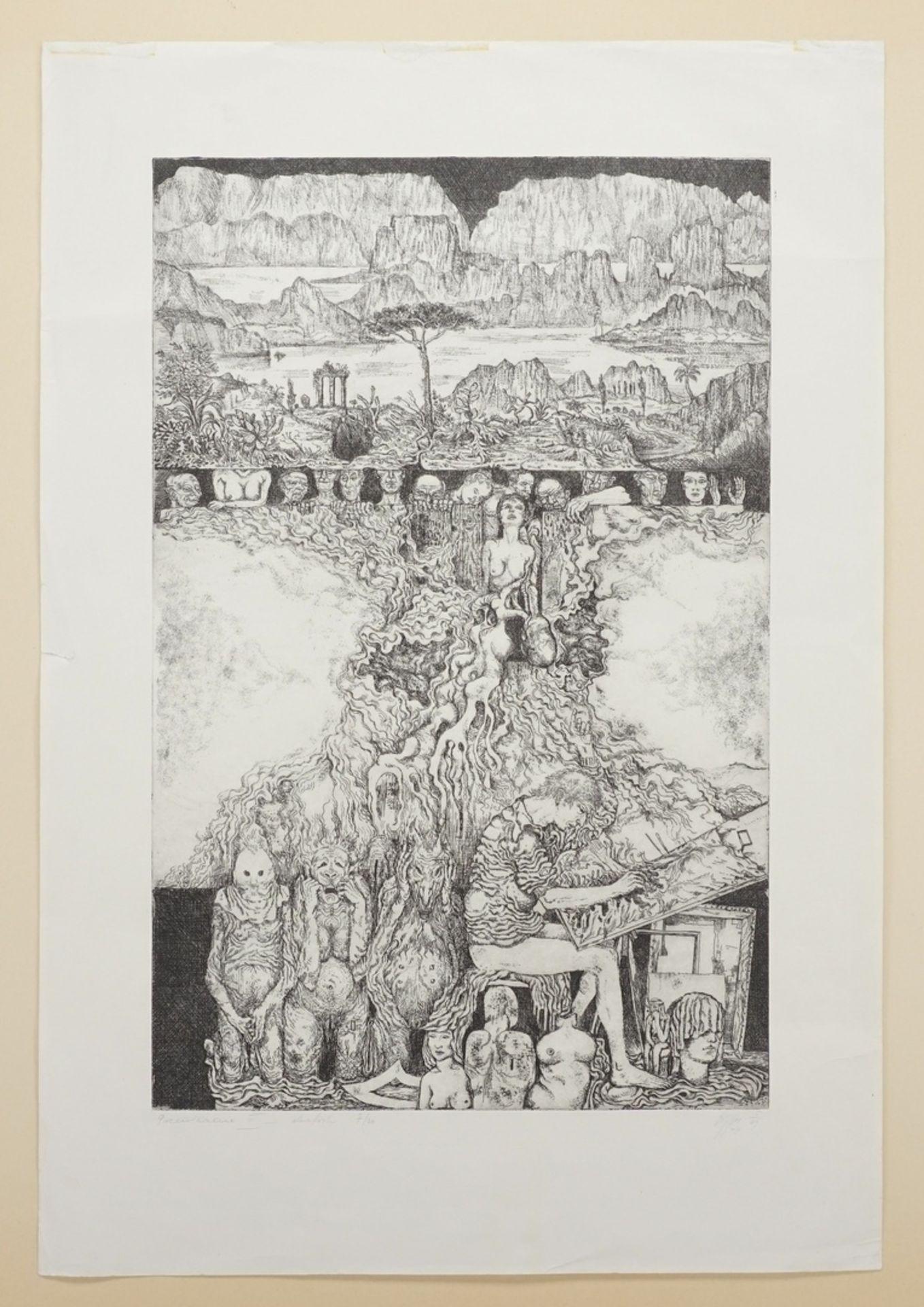 Unbekannter Radier-Künstler, Phantastisch-groteske Szene - Bild 3 aus 4