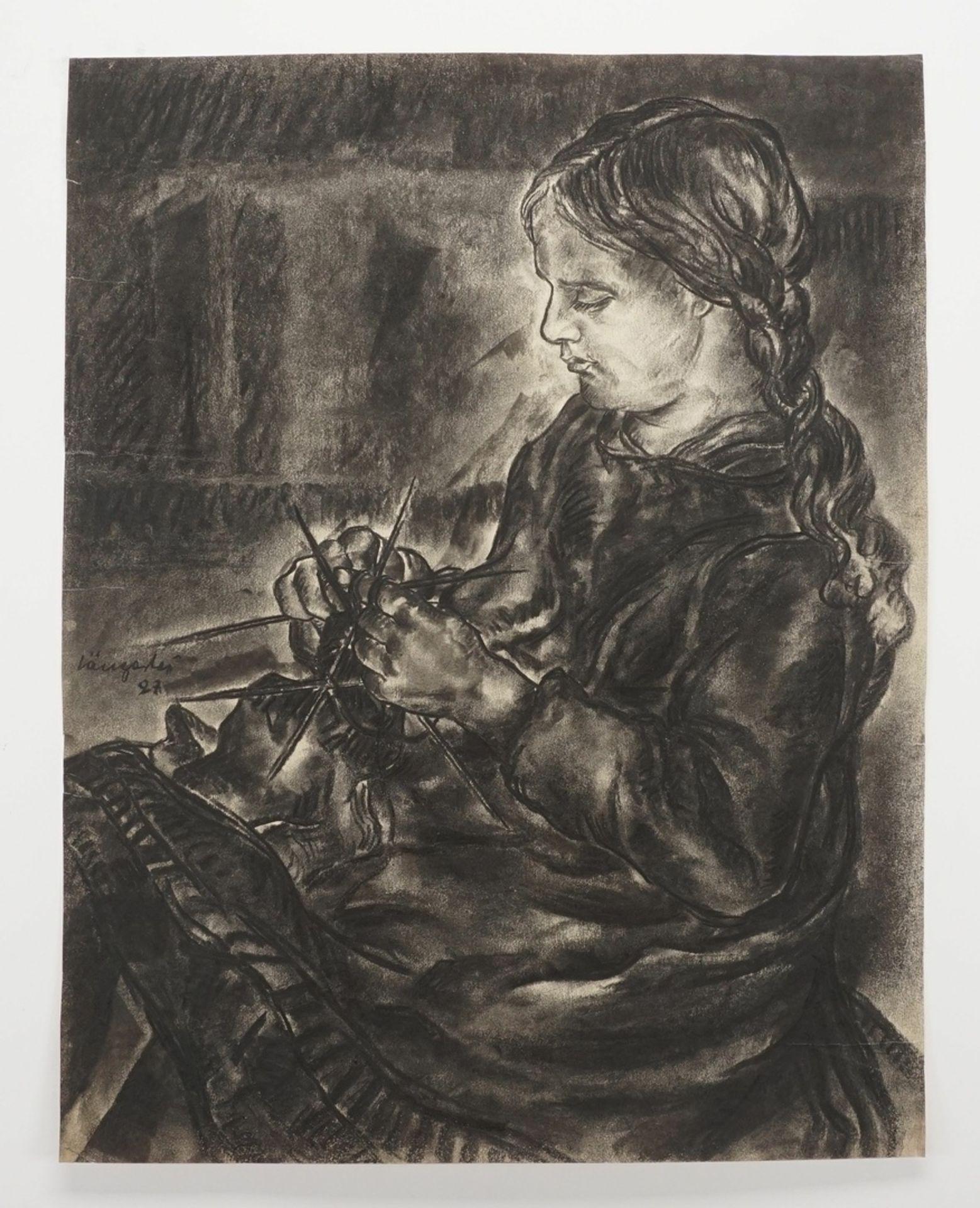 Unbekannter Zeichner, Strickendes Mädchen - Bild 3 aus 4