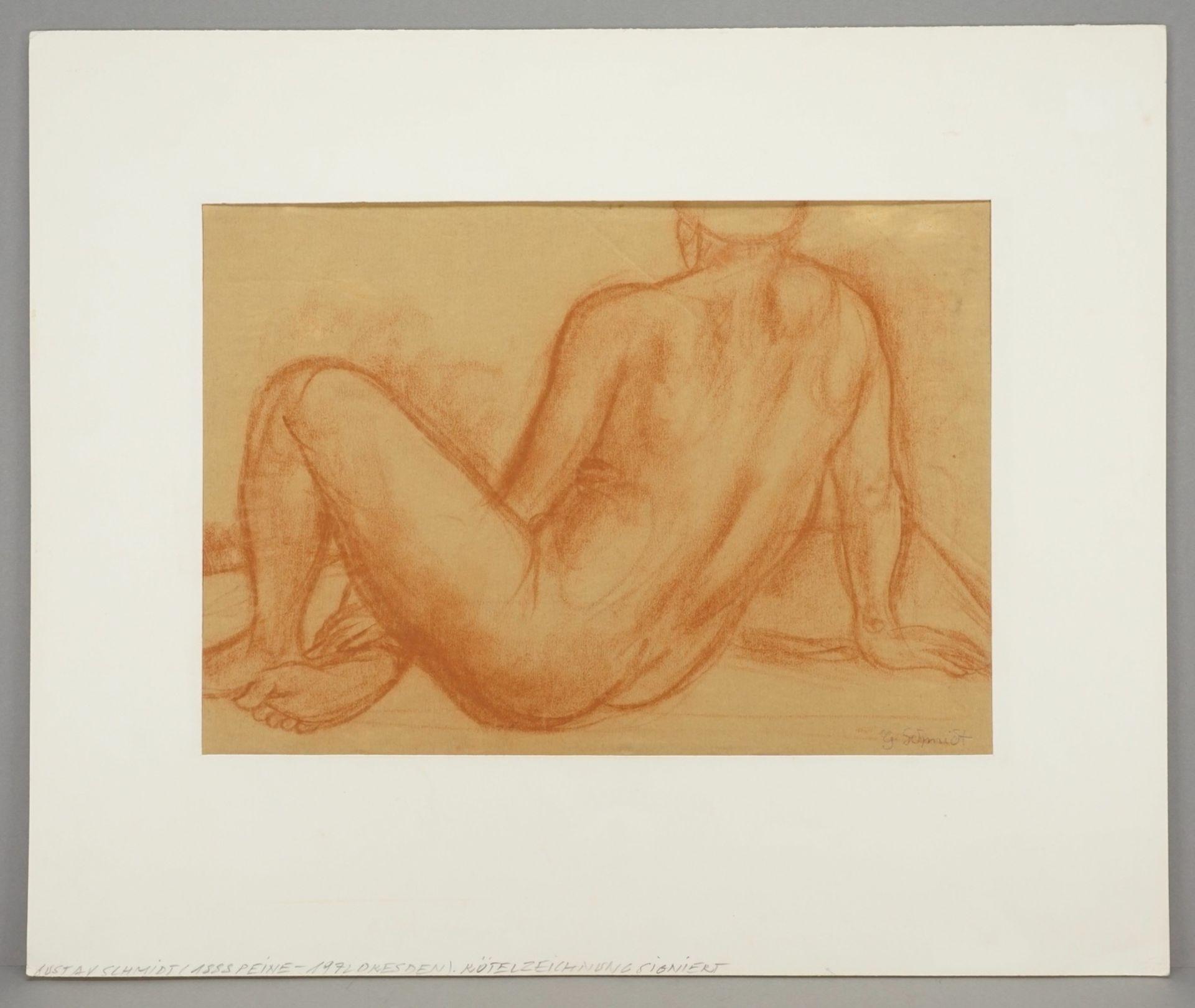 Gustav Schmidt, Sitzender Rückenakt, seitlich gelehnt - Bild 2 aus 4