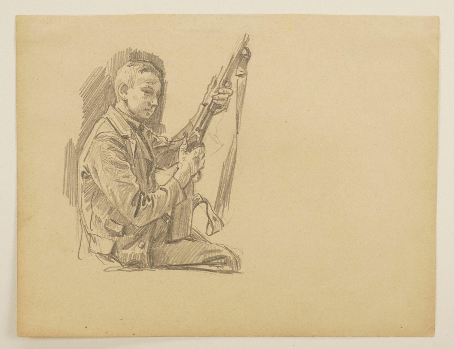 Unbekannter Zeichner, Sitzender Junge mit Gewehr - Bild 3 aus 4