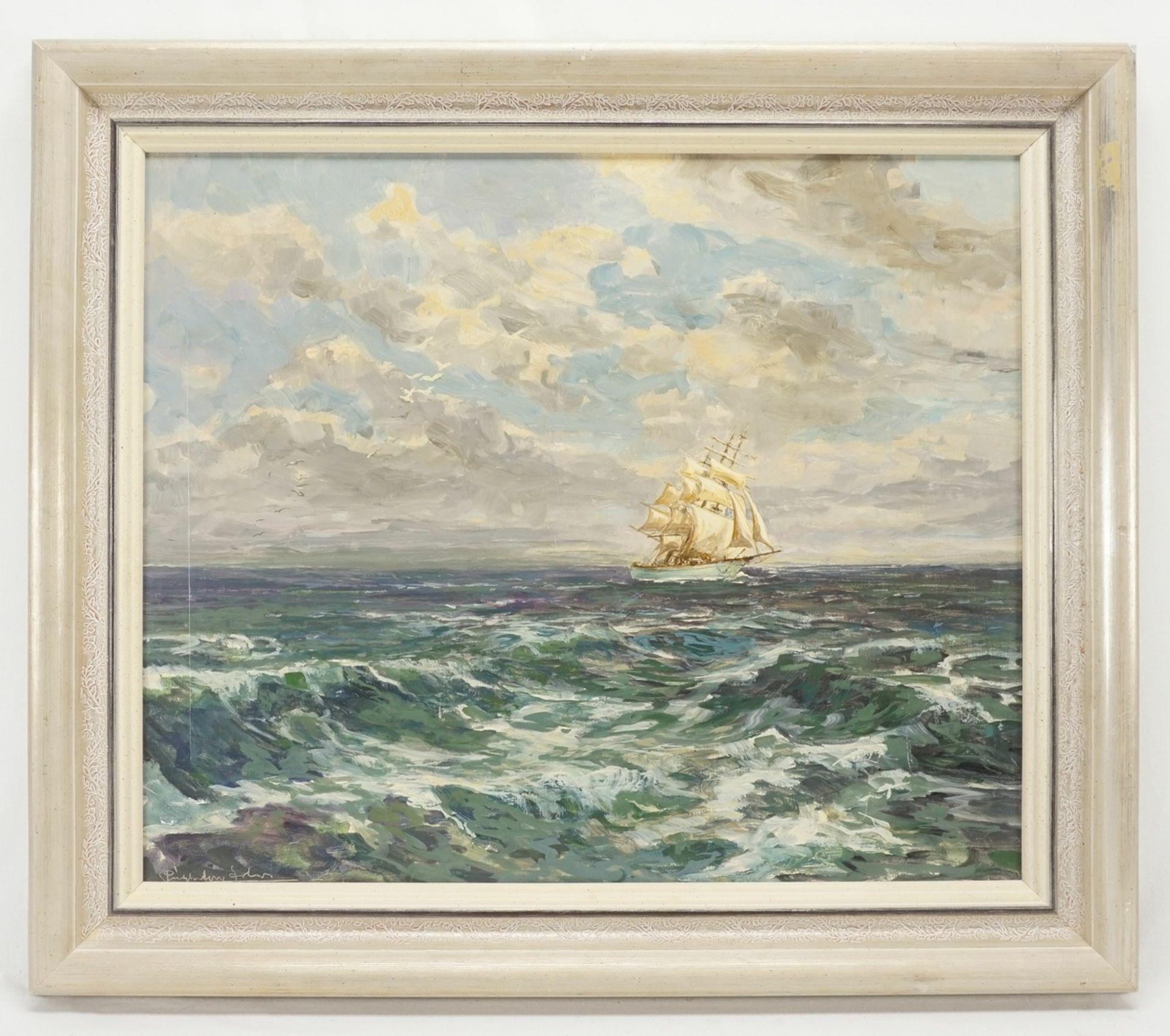 Marinemaler, Dreimaster unter vollen Segeln auf hoher See - Bild 2 aus 4